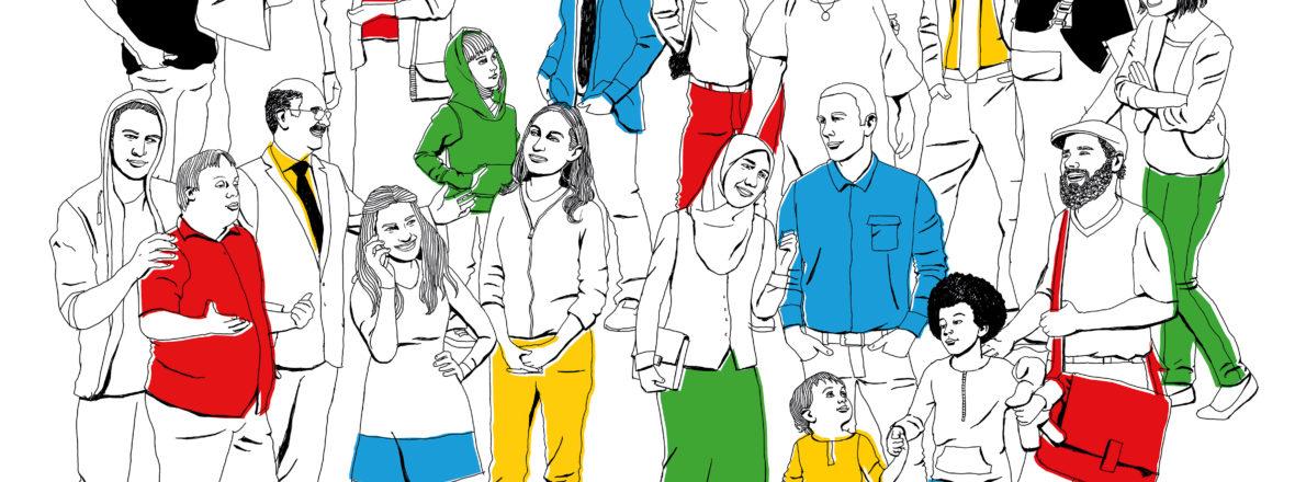 Illustration mit vielen unterschiedlichen Menschen, unterschiedlicher Herkunft und Religion symbolisiert eine pluralistische und offene Gesellschaft.