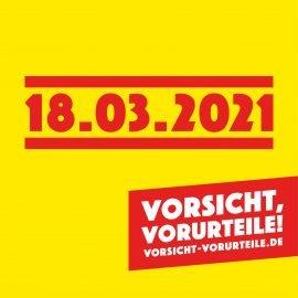 Bild mit ANkündigung zur Aktionswoche #vorsichtvorurteil ab 18.03.2021