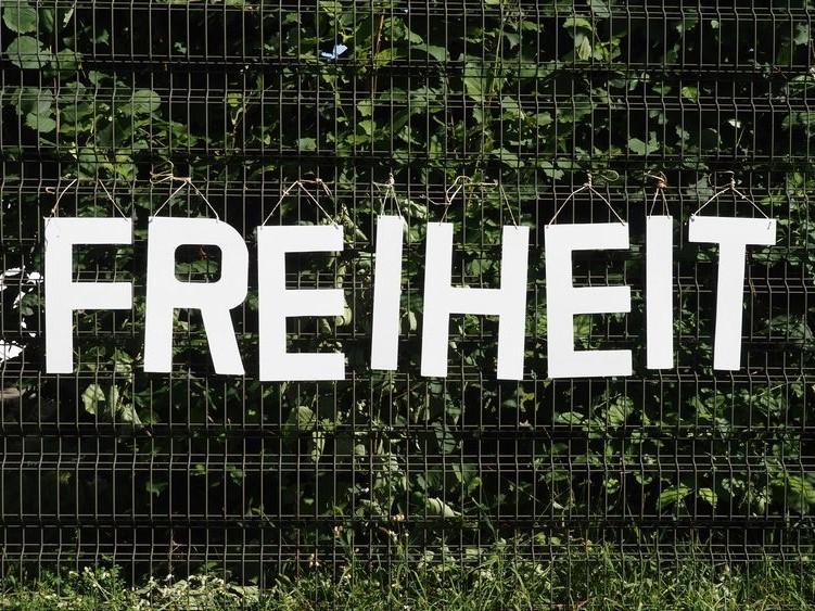 Der Begriff Freiheit dargestellt mit Holzbuchstaben an einem Zaun hängend