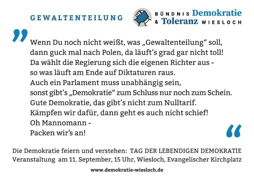 Postkarte mit einem Auszug aus einem Demokratie-Raptext