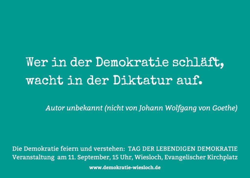 Postkarte mit Zitat: Wer in der Demokratie schläft, wacht in der Diktatur auf. (Autor unbekannt)
